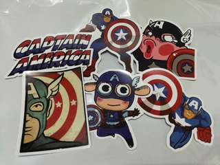 Superhero Marvel Captain America Shiny Stickers Set