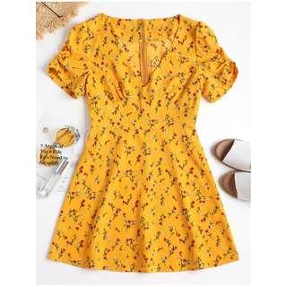 Zaful Tiny Floral Cinched Sleeve Mini Dress