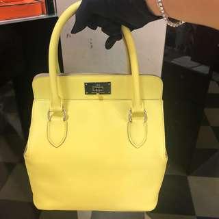 正品 全新 Hermes Toolbox 20 C9 營光黃色手挽側揹袋