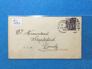 1893 Great Britain Cover Franked With Queen Victoria 1d Lilac. Postmarked Cambridge Sept 6 1893 With Obliterator #158
