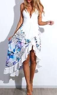 NEW white and blue floral dress, Sz 8-10