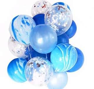 Blue birthday balloon set
