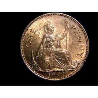 1967年英國不列顛尼亞女神坐像1便士銅幣(英女皇伊莉莎伯二世 原光好品)