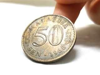 Duit Syiling Lama 50 sen 1968 old coin