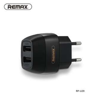 CHARGER REMAX TRAVEL CHARGER USB DUAL 2 SLOT 2.1A & 1 A - BLACK