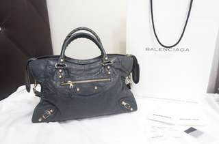 Pre-owned Balenciaga City Anthracite G12 Gold Hardware