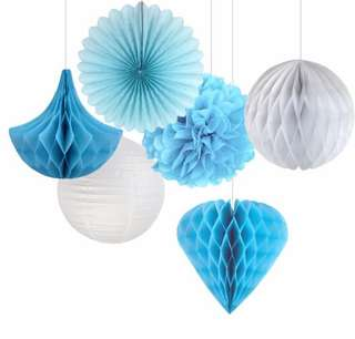 Blue birthday decoration set props