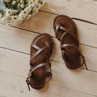 牛皮線涼鞋 羅馬涼鞋 23.5號