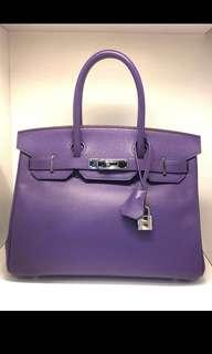 正品 95%新 Hermes Birkin 30 紫色Epsom皮銀扣手挽袋