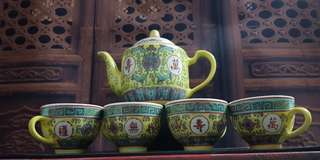 Vintage Yellow Glaze Chinese Tea Set