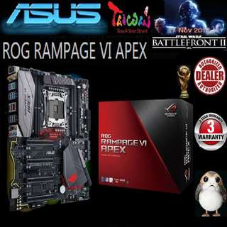 ASUS X299 ROG RAMPAGE VI APEX MOTHERBOARD (3 Years Warranty) + Bundle Together with Intel Intel LGA2066/x299 CPU..., Type of CPU price shown below...