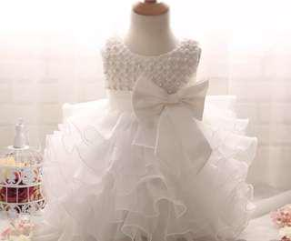White Tulle Princess Bow Pearl Gown
