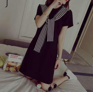 Korean Black Scarf Dress