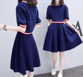 Korean Syle Half Sleeve A Line Blue Dress