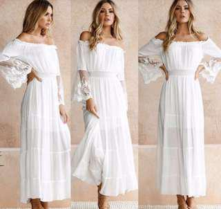 Offshoulder White Lace Beach Dress