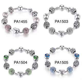 (PO) Antique Silver Charm Bracelet & Bangle with Love and Flower Beads Women