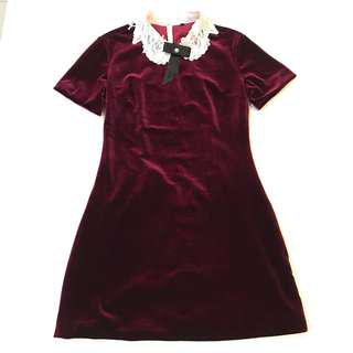 British Style Red Maroon Velvet Lace Collar One Piece Dress