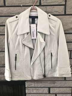 French connection white leather moto jacket