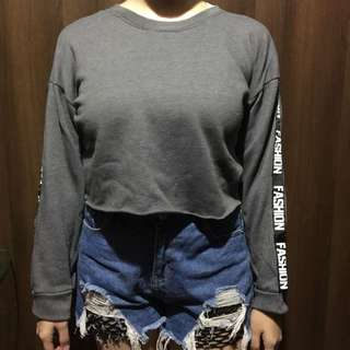 Grey / Gray Crop top longsleeve