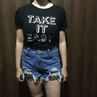 F21 Take it easy Black shirt