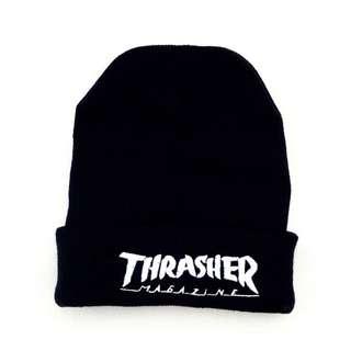 🚚 THRASHER FLAME BEANIE 刺繡毛帽LOGO 字體 針織  毛線帽黑