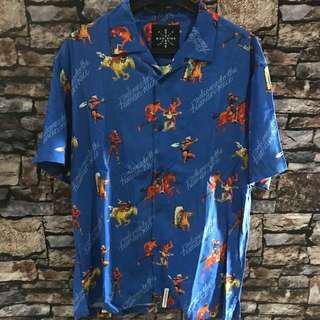 Aloha hawaiian shirt mankind blue civilization sz m
