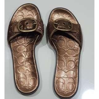 Coach MARLEE Copper Beaded 7M Slide Sandals Bronze like new