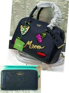 BNWT AUTHENTIC OVERRUN KATE SPADE BOSTON BAG AND WALLET SET