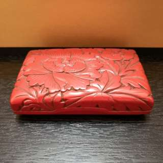 Red Flower square Chinese jewelry box