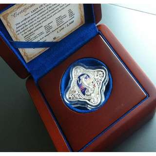 ★ TOKELAU $1 - 2014 Lady of Fortune. 1 Troy Oz. 999 Fine Silver Proof color coin
