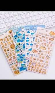 San X jinbesan and coronya bread cat stickers