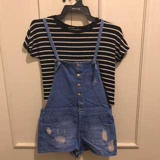 Zara crop top & Zara overalls