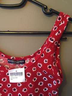 Brandy Melville red floral tank