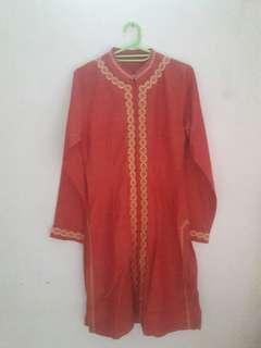 Baju Muslim Cewek 1 Set - Merah Bata #turunharga