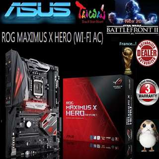 ASUS ROG MAXIMUS X HERO (WI-FI AC) Z370 MB ( 3 Years Warranty), + Bundle Together with Intel LGA1151 Coffee Lake CPU..., Type of CPU price shown below...