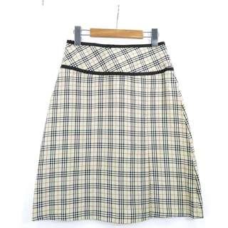 🚚 英國精品 BURBERRY 薄款 經典格紋及膝裙 S號