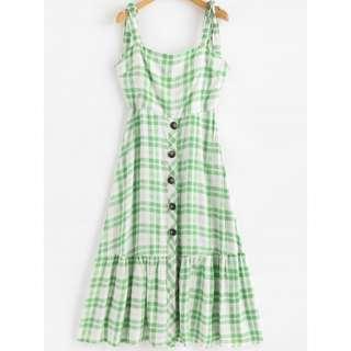 Zaful Tartan Print Tie Shoulder Button Midi Dress