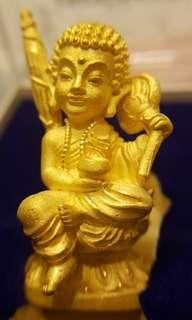 ☆☆Promo Price: $46.88 Golden Rooplor Phra Sivali Nur Thong Daeng with 2 x Takruts below