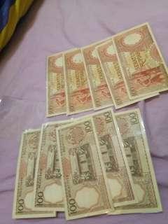 UNC / 100 rupiah / 1958 / 10 pcs