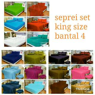 Premium seprei set vallery king size bantal 4