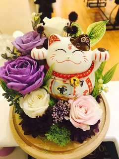 Happiness (fortune cat preserved flower)