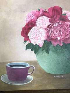 Original Artwork Painting by Victoria: Pink Peonies in a Green Vase
