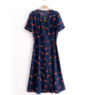 Floral Print Feather Retro Frenulum Wrap Up Dress