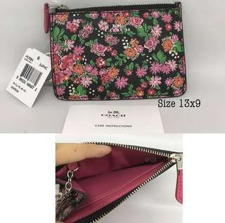 Coach Key Pouch Floral Multi size 13x9 With key ring