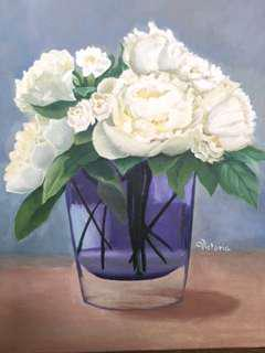 Original Artwork Painting by Victoria: White Peonies in a Clear Vase