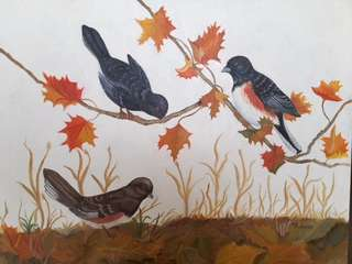 Original Artwork Painting by Victoria: Autumn Birds