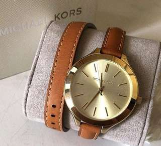 Michael Kors Woman's Runway double wrap leather watch 4.2mm case size