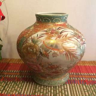 Vintage Vase with Phoenix and peonies embossed Painting marked QianLong