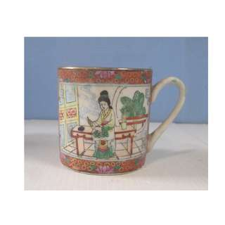 Antique Guangdong Famille Rose Export Porcelain Cup circa Late Qing Period