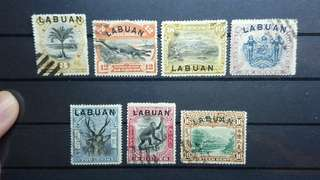 Labuan Stamps Pictorial series lot of 7 pcs 1894 - 1902